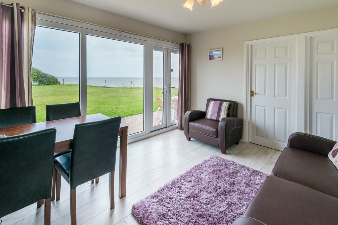 Hickling chalet sea views from lounge at Wakefield Court Beach in Great Yarmouth Norfolk